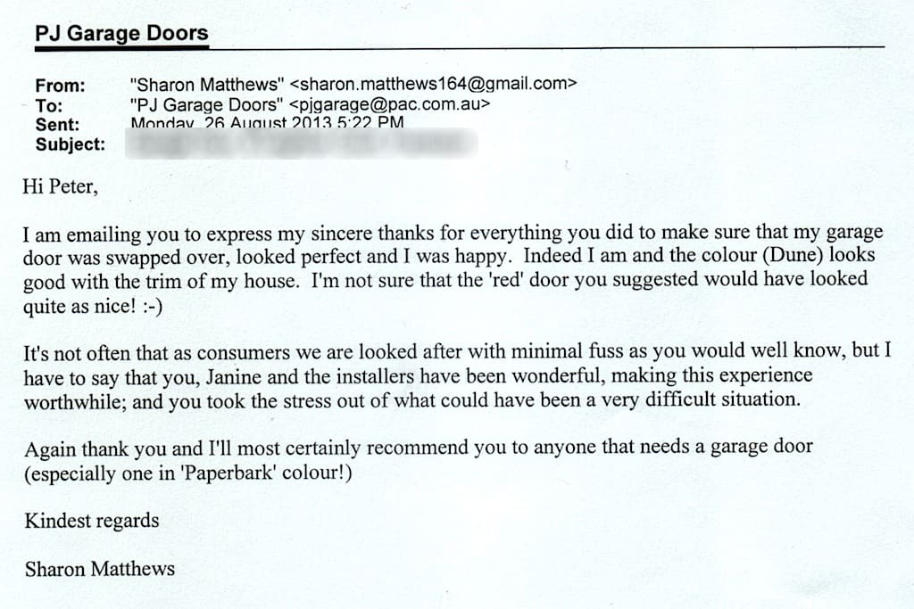 I am emailing you to express my sincere thanks for everything you did to make sure that my garage door was swapped over looked perfect and I was happy.  sc 1 th 183 & Garage Door Repairs South Eastern Suburbs Melbourne | Garage Doors ...
